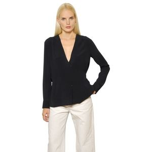 Helmut Lang Back Tab Washed Crepe de Chine Blouse